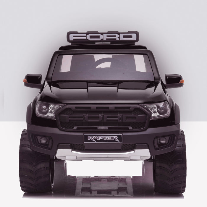 kids 12v electric ford ranger raptor f150 battery operated ride on car with parental remote control front doors closed black wildtrak 2wd black