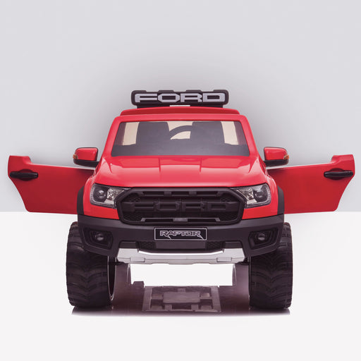 kids 12v electric ford ranger raptor f150 battery operated ride on car with parental remote control front doors open red wildtrak 2wd red