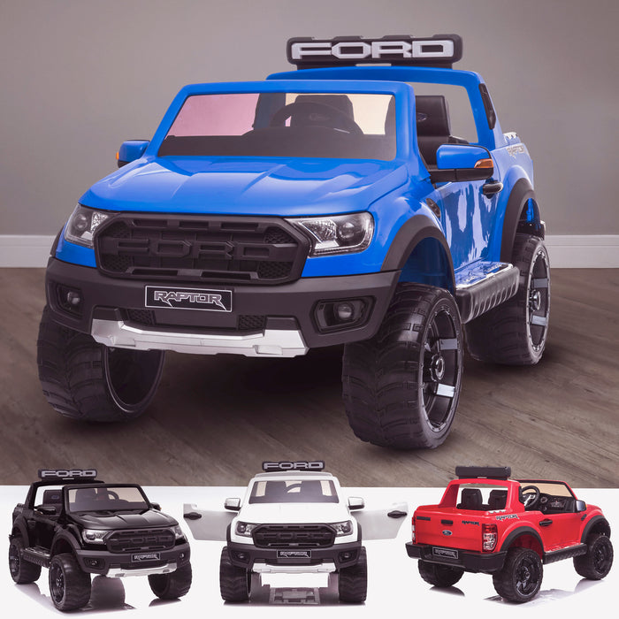 kids 12v electric ford ranger raptor f150 battery operated ride on car with parental remote control main blue wildtrak 2wd white