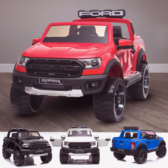 kids 12v electric ford ranger raptor f150 battery operated ride on car with parental remote control main red wildtrak 2wd white