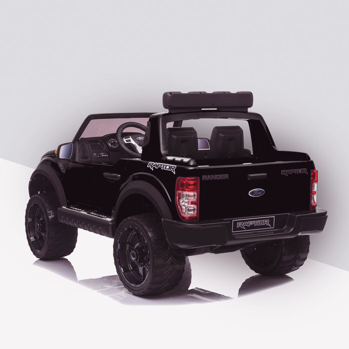 kids 12v electric ford ranger raptor f150 battery operated ride on car with parental remote control rear angle doors closed black wildtrak 2wd painted blue
