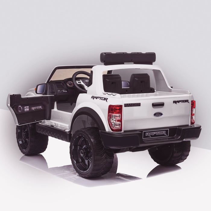 kids 12v electric ford ranger raptor f150 battery operated ride on car with parental remote control rear angle doors open white wildtrak 2wd
