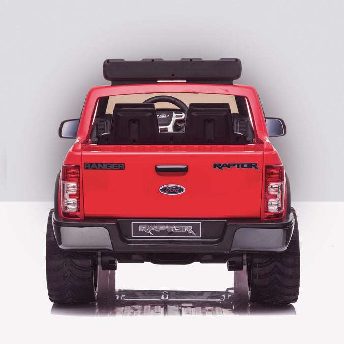 kids 12v electric ford ranger raptor f150 battery operated ride on car with parental remote control rear doors closed red wildtrak 2wd