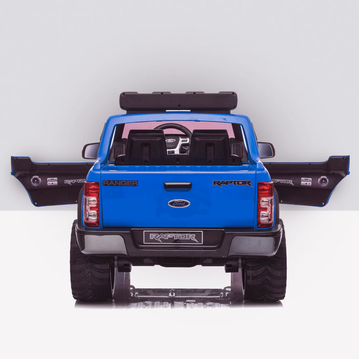 kids 12v electric ford ranger raptor f150 battery operated ride on car with parental remote control rear doors open blue wildtrak 2wd