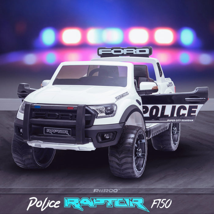 kids 12v electric ford ranger raptor f150 police truck car jeep pick up battery operated ride on car with parental remote control front angle doors open wildtrak edition