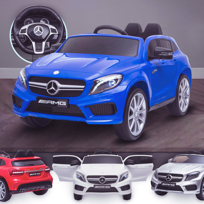 kids 12v electric mercedes gla 43 amg car licesend battery operated ride on car with parental remote control main blue 45 licensed 2wd blue