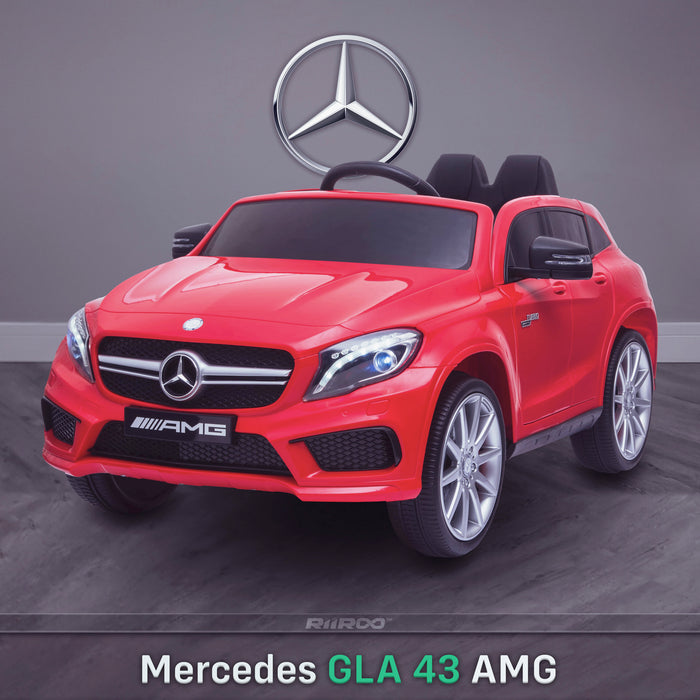kids 12v electric mercedes gla 43 amg car licesend battery operated ride on car with parental remote control main front angle red 45 licensed 2wd red