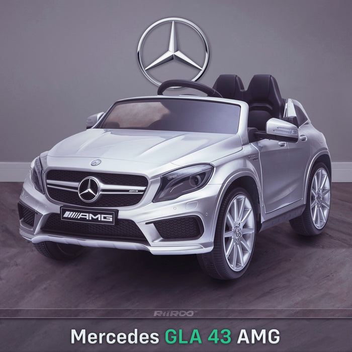 kids 12v electric mercedes gla 43 amg car licesend battery operated ride on car with parental remote control main front angle silver 45 licensed 2wd white