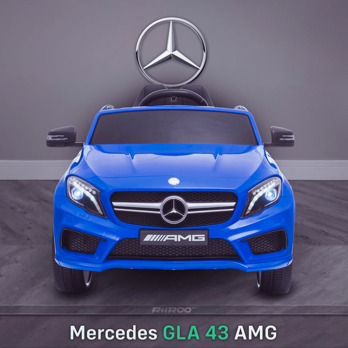 kids 12v electric mercedes gla 43 amg car licesend battery operated ride on car with parental remote control main front direct blue 45 licensed 2wd blue