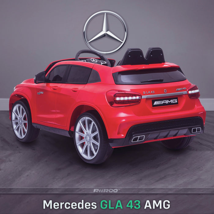 kids 12v electric mercedes gla 43 amg car licesend battery operated ride on car with parental remote control main rear angle red 45 licensed 2wd red
