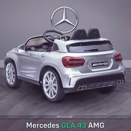 kids 12v electric mercedes gla 43 amg car licesend battery operated ride on car with parental remote control main rear angle silver 45 licensed 2wd painted grey