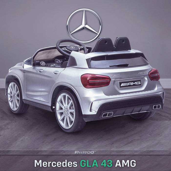kids 12v electric mercedes gla 43 amg car licesend battery operated ride on car with parental remote control main rear angle silver 45 licensed 2wd