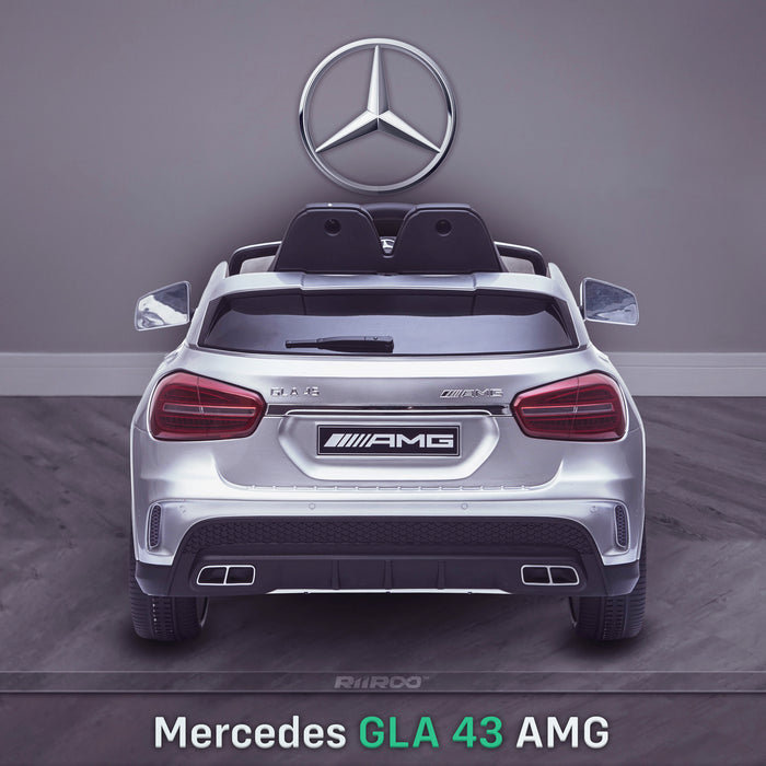 kids 12v electric mercedes gla 43 amg car licesend battery operated ride on car with parental remote control main rear direct silver 45 licensed 2wd