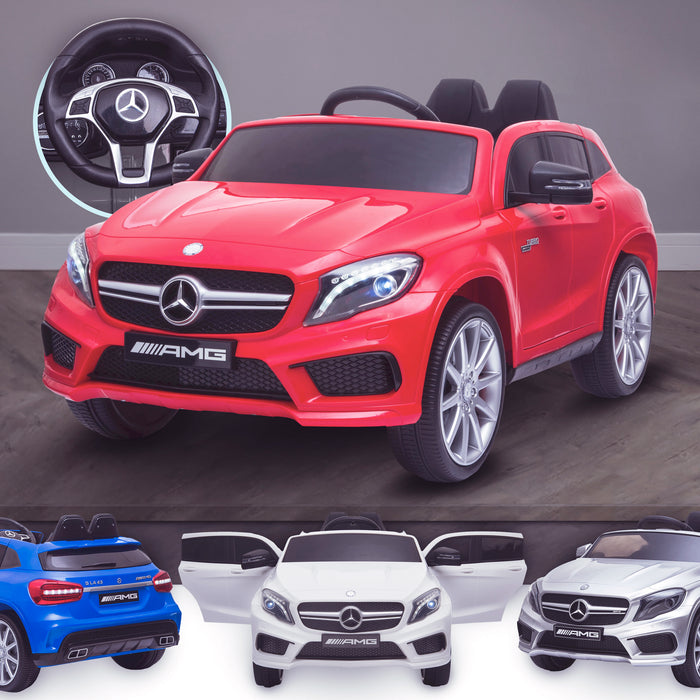 kids 12v electric mercedes gla 43 amg car licesend battery operated ride on car with parental remote control main red 45 licensed 2wd white