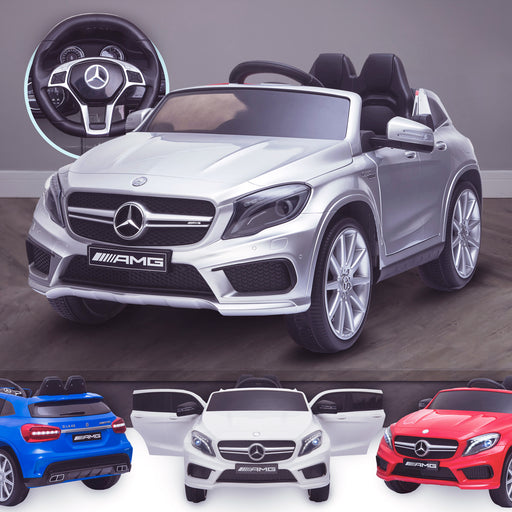 kids 12v electric mercedes gla 43 amg car licesend battery operated ride on car with parental remote control main silver 45 licensed 2wd painted grey