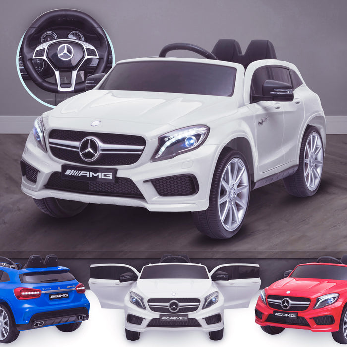 kids 12v electric mercedes gla 43 amg car licesend battery operated ride on car with parental remote control main white 45 licensed 2wd blue