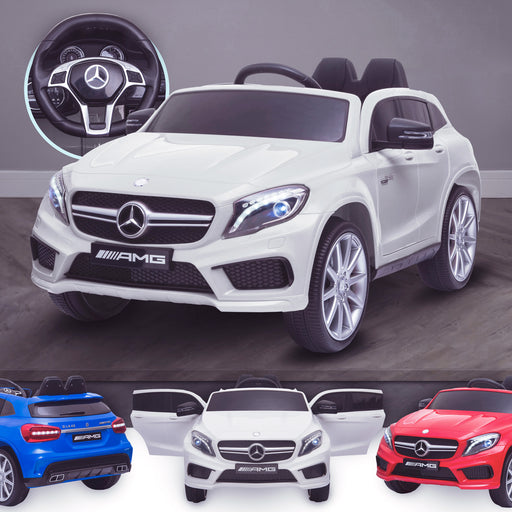 kids 12v electric mercedes gla 43 amg car licesend battery operated ride on car with parental remote control main white 45 licensed 2wd white