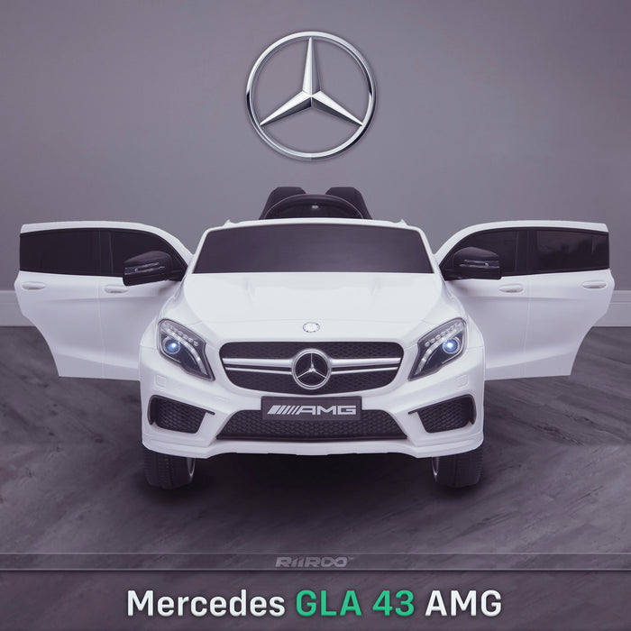 kids 12v electric mercedes gla 43 amg car licesend battery operated ride on car with parental remote control main working doors 45 licensed 2wd white