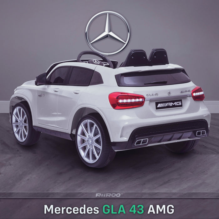 kids 12v electric mercedes gla 43 amg car licesend battery operated ride on car with parental remote control mainrear angle white 45 licensed 2wd red
