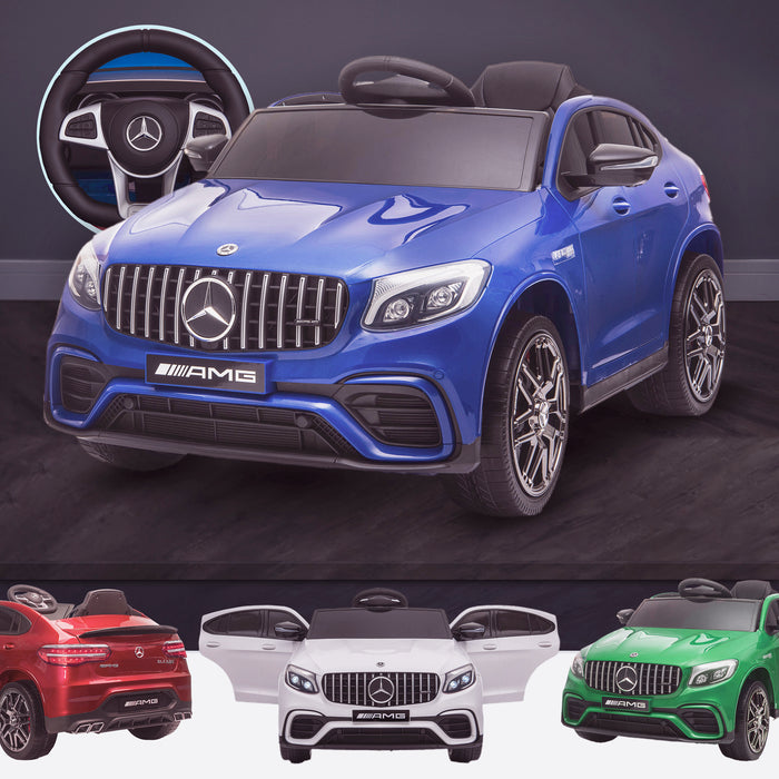 kids 12v electric mercedes glc 63s coupe battery car jeep pick up battery operated ride on car with parental remote control blue benz amg licensed 2wd painted red