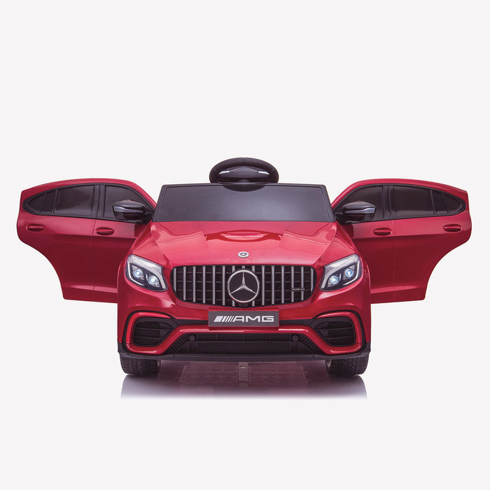 kids 12v electric mercedes glc 63s coupe battery car jeep pick up battery operated ride on car with parental remote control front doors open benz amg licensed 2wd painted red