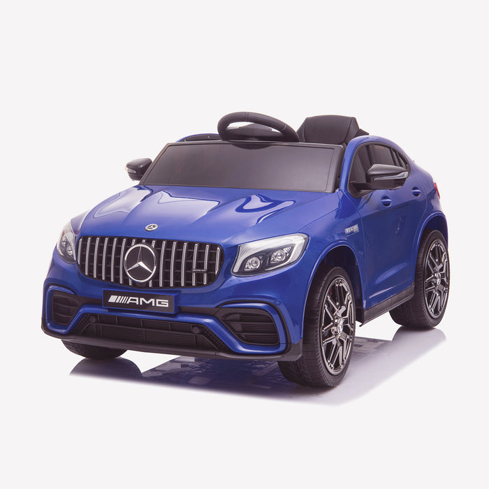 kids 12v electric mercedes glc 63s coupe battery car jeep pick up battery operated ride on car with parental remote control front perspective blue benz amg licensed 2wd blue