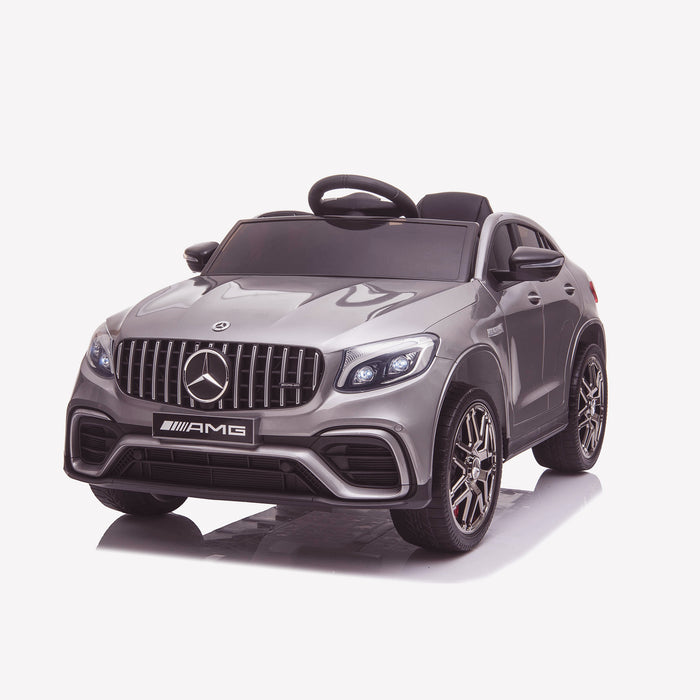 kids 12v electric mercedes glc 63s coupe battery car jeep pick up battery operated ride on car with parental remote control front perspective gray benz amg licensed 2wd painted grey