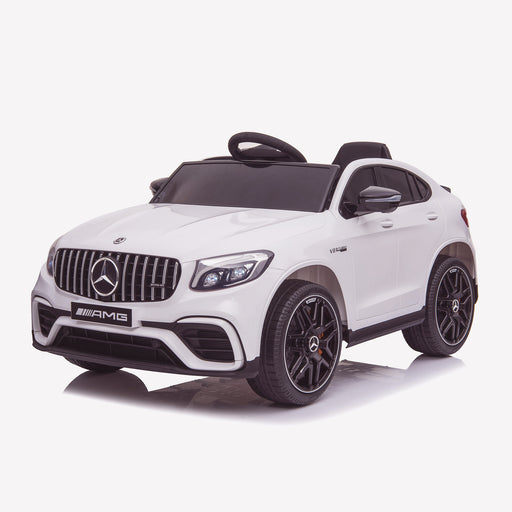 kids 12v electric mercedes glc 63s coupe battery car jeep pick up battery operated ride on car with parental remote control front perspective white benz amg licensed 2wd white