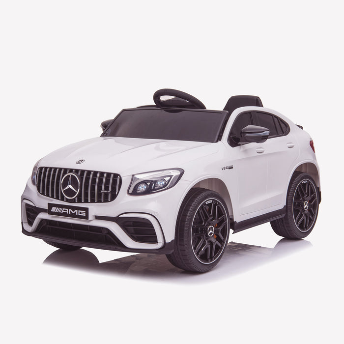 kids 12v electric mercedes glc 63s coupe battery car jeep pick up battery operated ride on car with parental remote control front perspective white benz amg licensed 2wd painted grey