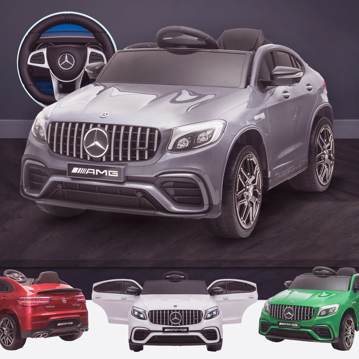 kids 12v electric mercedes glc 63s coupe battery car jeep pick up battery operated ride on car with parental remote control gray benz amg licensed 2wd blue