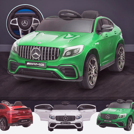 kids 12v electric mercedes glc 63s coupe battery car jeep pick up battery operated ride on car with parental remote control green benz amg licensed 2wd green
