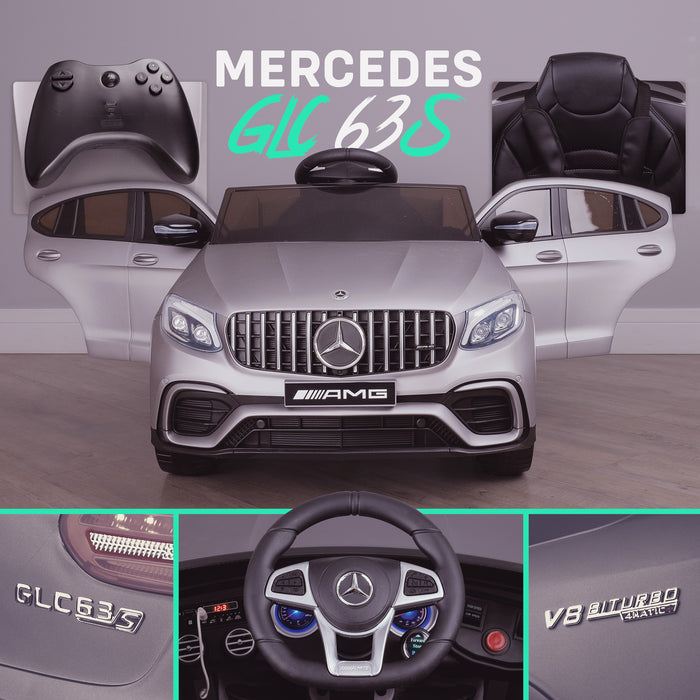 kids 12v electric mercedes glc 63s coupe battery car jeep pick up battery operated ride on car with parental remote control mat gray final benz amg licensed 2wd blue
