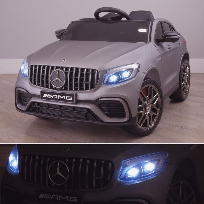 kids 12v electric mercedes glc 63s coupe battery car jeep pick up battery operated ride on car with parental remote control mat gray front angle lights on 2 benz amg licensed 2wd blue