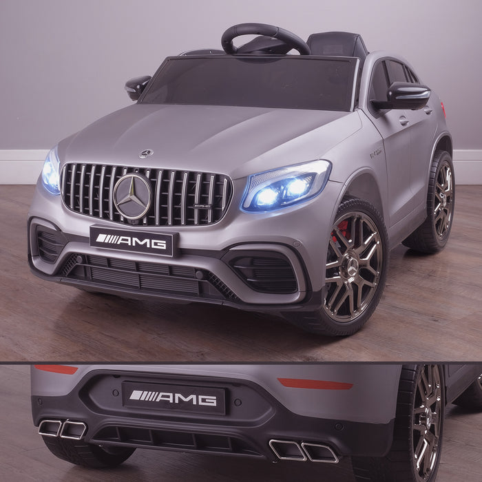 kids 12v electric mercedes glc 63s coupe battery car jeep pick up battery operated ride on car with parental remote control mat gray front angle lights on benz amg licensed 2wd painted grey