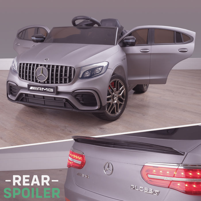 kids 12v electric mercedes glc 63s coupe battery car jeep pick up battery operated ride on car with parental remote control mat gray front angle lights off benz amg licensed 2wd painted grey