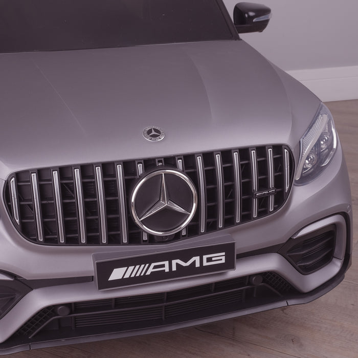 kids 12v electric mercedes glc 63s coupe battery car jeep pick up battery operated ride on car with parental remote control mat gray front grille benz amg licensed 2wd green