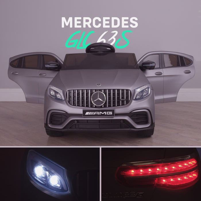 kids 12v electric mercedes glc 63s coupe battery car jeep pick up battery operated ride on car with parental remote control mat gray front benz amg licensed 2wd painted grey