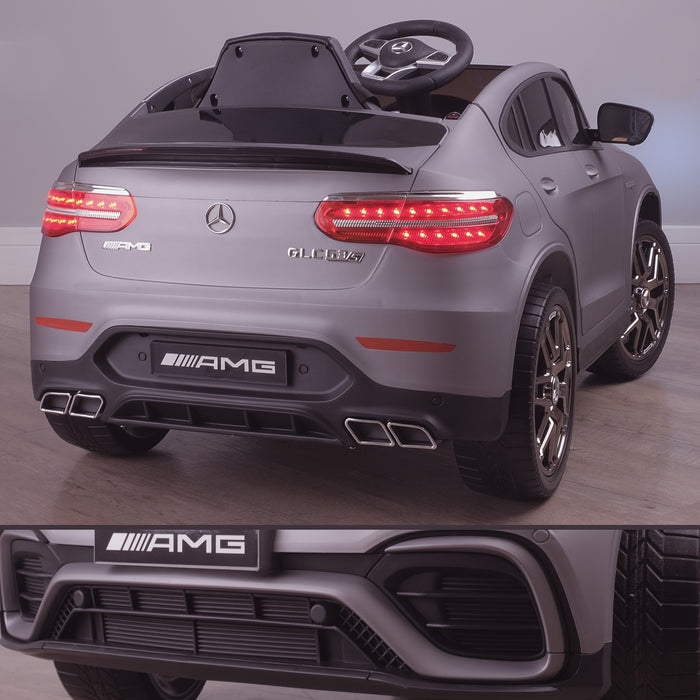 kids 12v electric mercedes glc 63s coupe battery car jeep pick up battery operated ride on car with parental remote control mat gray rear angle benz amg licensed 2wd blue