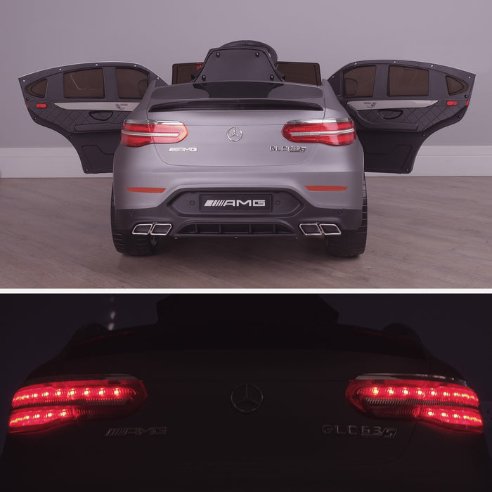 kids 12v electric mercedes glc 63s coupe battery car jeep pick up battery operated ride on car with parental remote control mat gray rear doors open benz amg licensed 2wd blue
