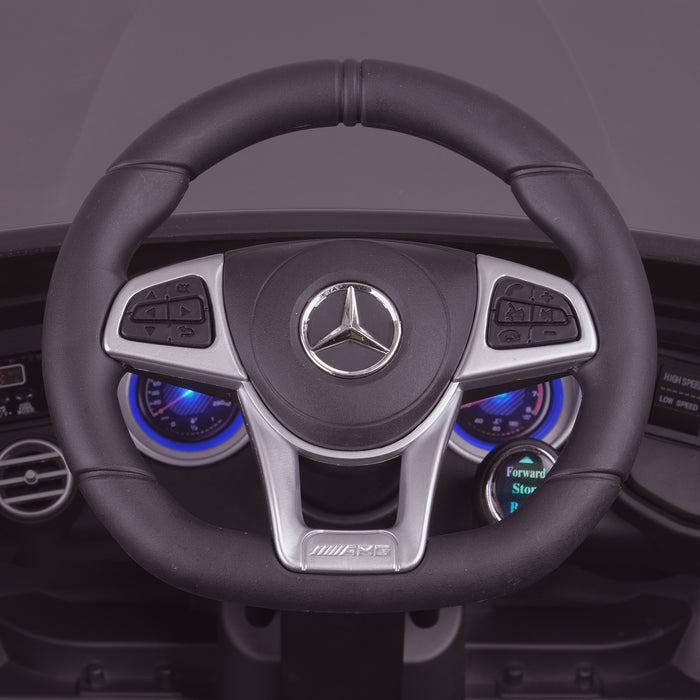 kids 12v electric mercedes glc 63s coupe battery car jeep pick up battery operated ride on car with parental remote control mat gray steering wheel close up benz amg licensed 2wd blue