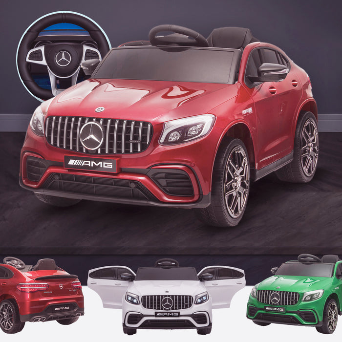 kids 12v electric mercedes glc 63s coupe battery car jeep pick up battery operated ride on car with parental remote control red benz amg licensed 2wd painted red