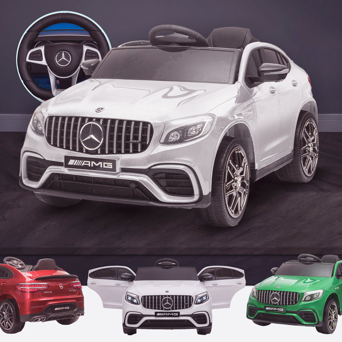 kids 12v electric mercedes glc 63s coupe battery car jeep pick up battery operated ride on car with parental remote control white benz amg licensed 2wd painted red