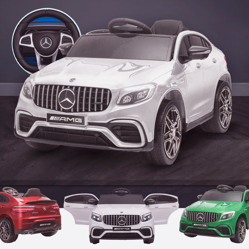 kids 12v electric mercedes glc 63s coupe battery car jeep pick up battery operated ride on car with parental remote control white White benz amg licensed 2wd white