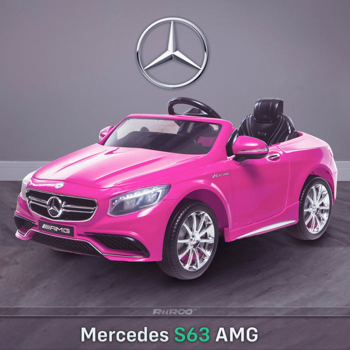 kids 12v electric mercedes s63 amg car licesend battery operated ride on car with parental remote control main front angle 2 pink 2wd painted grey