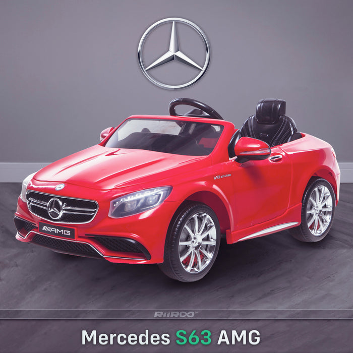 kids 12v electric mercedes s63 amg car licesend battery operated ride on car with parental remote control main front angle 2 red 2wd painted grey