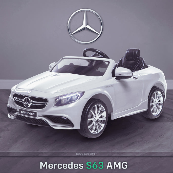 kids 12v electric mercedes s63 amg car licesend battery operated ride on car with parental remote control main front angle 2 white 2wd painted grey