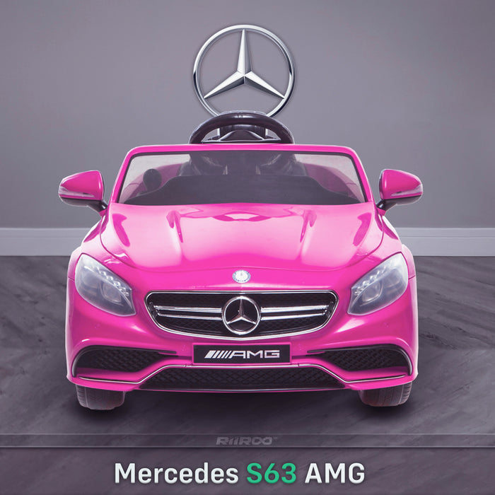 kids 12v electric mercedes s63 amg car licesend battery operated ride on car with parental remote control main front pink 2wd pink