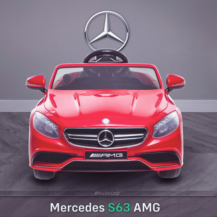 kids 12v electric mercedes s63 amg car licesend battery operated ride on car with parental remote control main front red 2wd painted grey