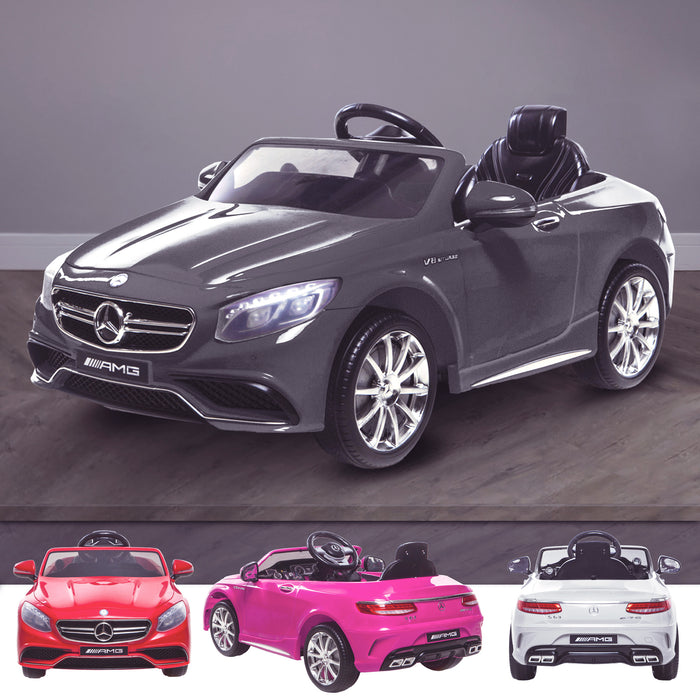 kids 12v electric mercedes s63 amg car licesend battery operated ride on car with parental remote control main gray sample 2wd white