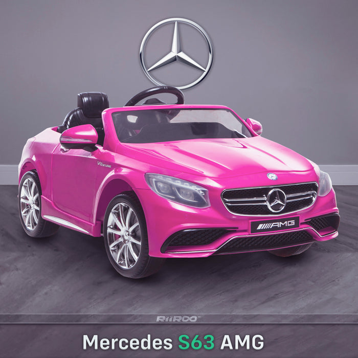 kids 12v electric mercedes s63 amg car licesend battery operated ride on car with parental remote control main pink front angle 2wd white